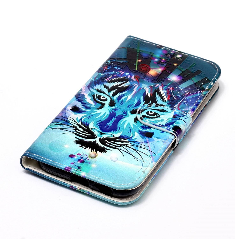EWCover PU Funda de Cuero para Samsung Galaxy A5 2017,Cubierta con Tapa con Estampado de Flores de Colores 3D