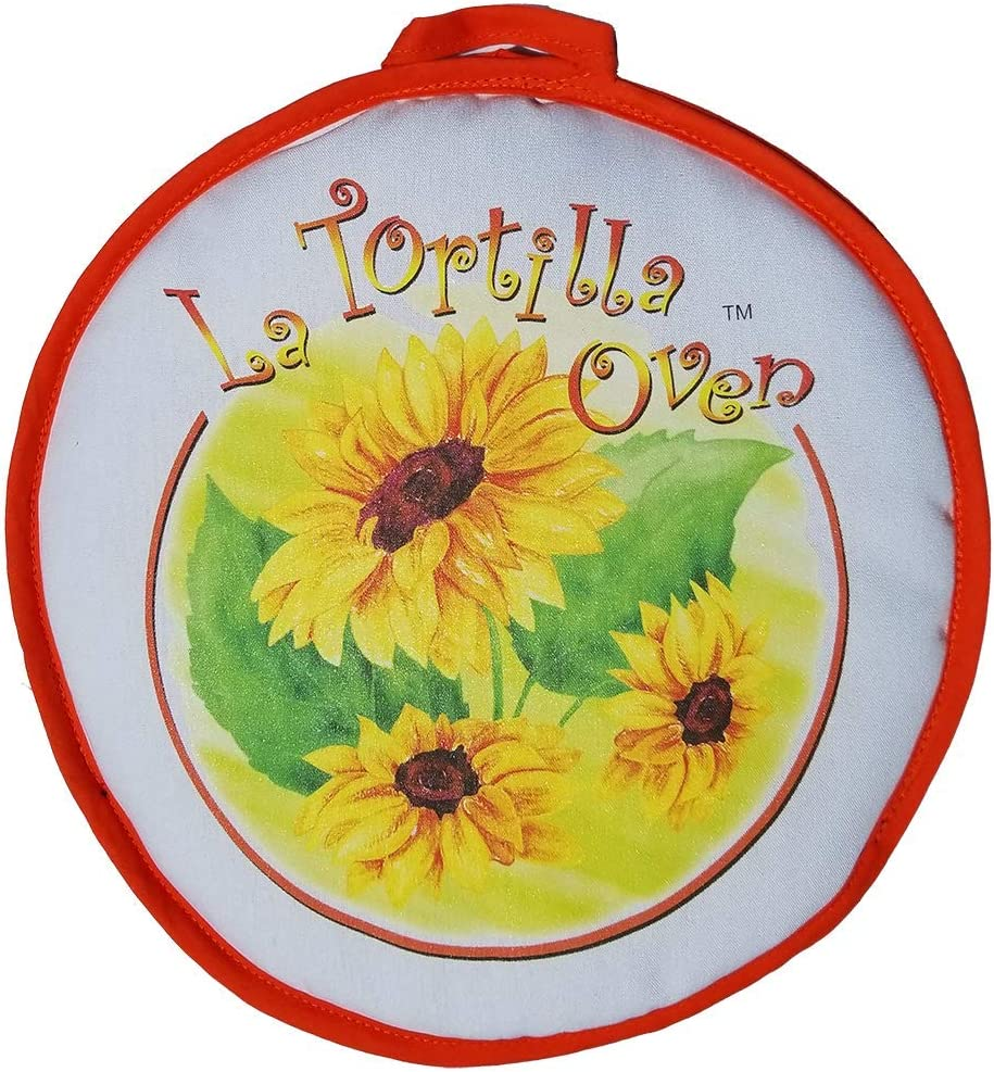 "12"" Premium Sunflower Tortilla Warmer & Vegetable Steamer. Steam Veggies in minutes and Tortillas in seconds from the Microwave by La Tortilla Oven (Original)"