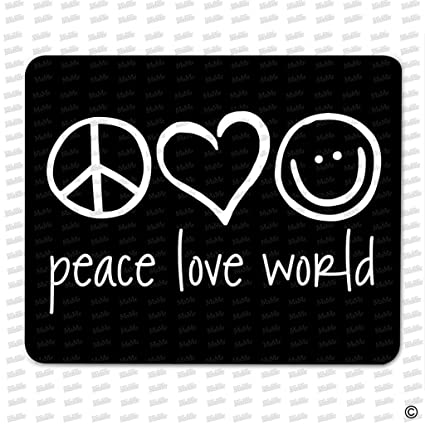Msmr Gaming Mouse Pad Peace Love World Designed Funny Mouse Pad Cloth Top Rubber Back Non