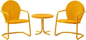 Crosley Furniture KO10004TG Griffith 3-Piece Retro Metal Outdoor Seating Set with 2 Chairs and Side Table, Tangerine