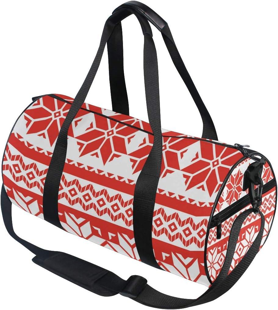 MALPLENA Classic Poinsettia Holiday Pattern Drum gym duffel bag women Travel Bag