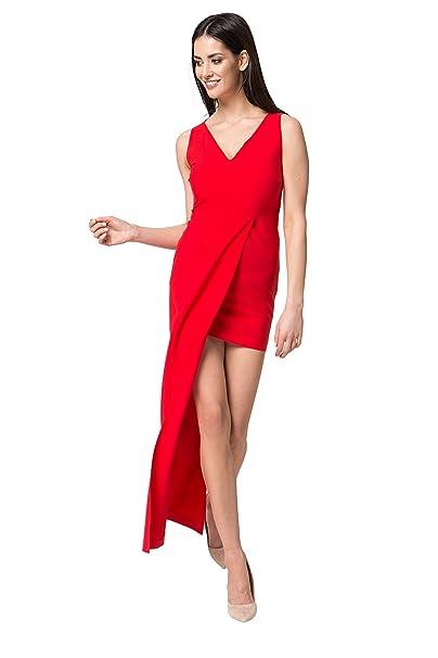 MOS moda vestido de verano casual de ocio vestido midi con cuello en v sin mangas