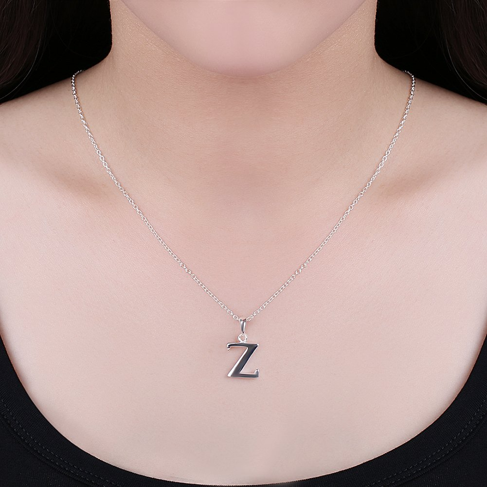 Womens Big Letter Necklace Sideways Initial Alphabet 26 Chain Pendant Necklaces for Women Teen Girls