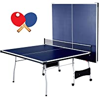 Schmidt Foldable 4 Piece Table Tennis Ping Pong Play   Official Tournament Size 9' x 5'   with Net Posts Paddles 2 Ball…
