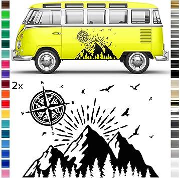 Auto Dress Auto Wohnwagen Aufkleber Dekor Sticker Natur Kompass Landschaft Berge Wald Schwarz Glanz Auto