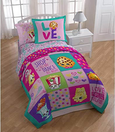 Shopkins Patchwork Niñas doble colcha, juego de sábanas incluye y Sham (5 piezas cama en una bolsa) + caseras de cera Melt: Amazon.es: Hogar