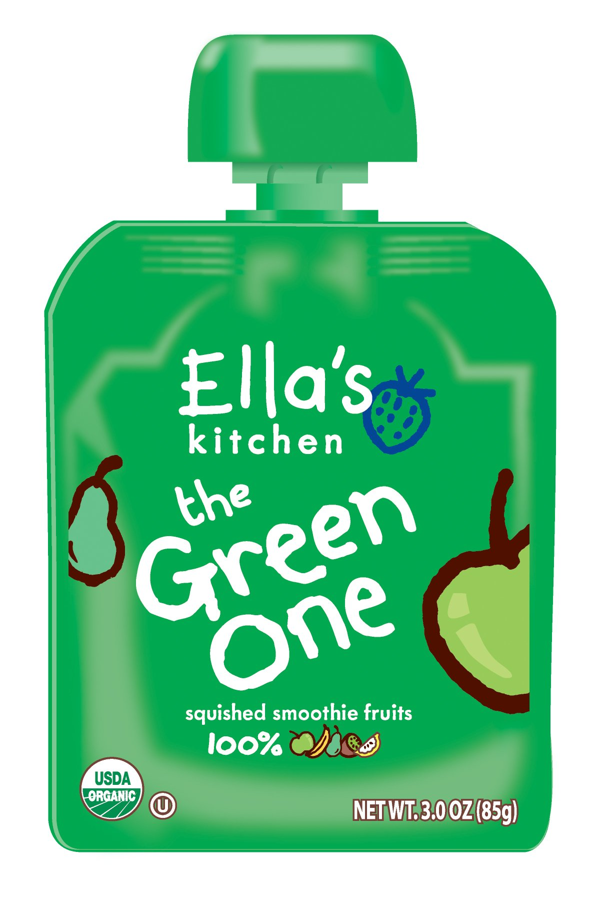 Ella's Kitchen Organic Smoothie Fruits, The Green One, 3 Ounce (Pack of 6)