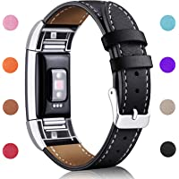 Hotodeal Strap Compatible Fitbit Charge 2, Classic Genuine Leather Wristband Metal Connectors, Fitness Strap for Women Men, Small Large