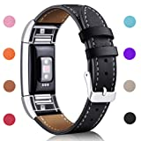 Hotodeal Fitbit Charge 2 Replacement Bands, Classic Genuine Leather Wristband With Metal Connectors, Charge 2 Fitness Strap