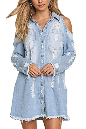 b826fc7644 PiePieBuy Women s Distressed Ripped Denim Jean Jacket Shirt Dress Cold  Shoulder Long Sleeve Shirt Dresses Chambray