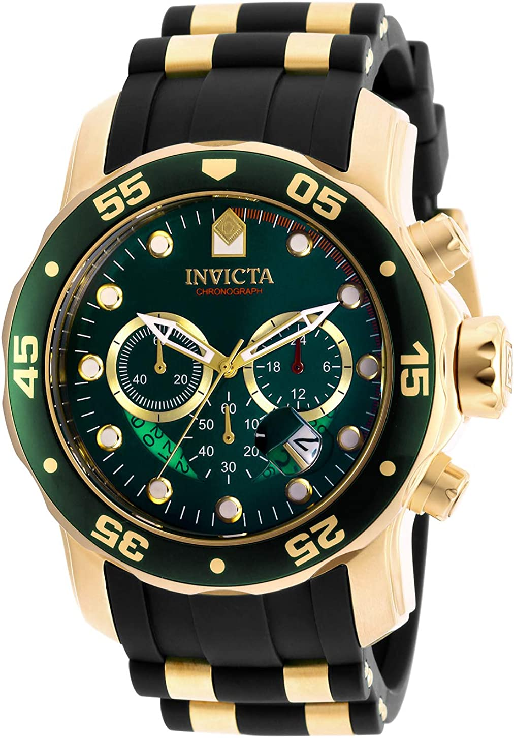 Invicta Men s 6984 Pro Diver Collection Chronograph Green Dial Black Polyurethane Watch