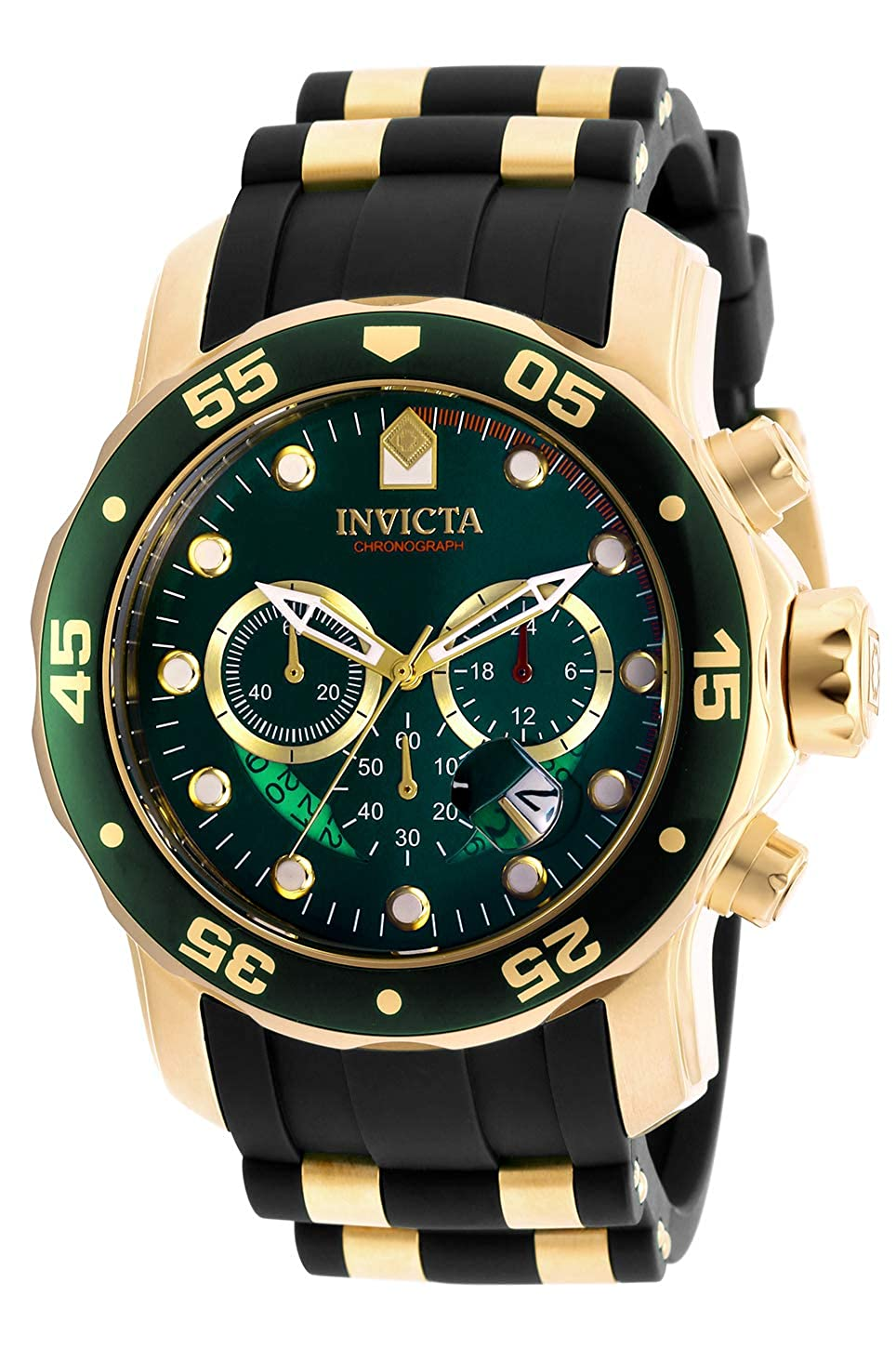 Invicta Men s 6984 Pro Diver Collection Chronograph Green Dial Black Polyurethane Watch
