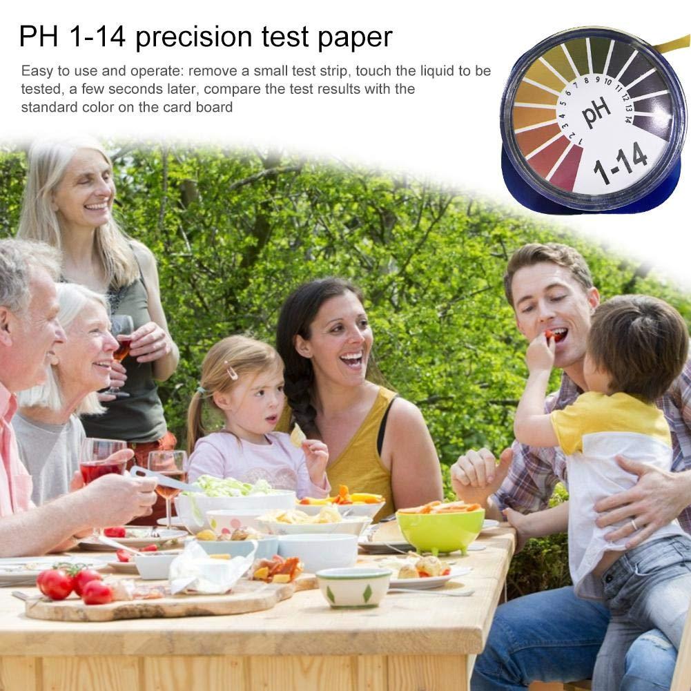 14 Rotolo di Carta Tornasole per Urine Saliva Alcalina Cura Terreno Test PH Strisce PH Test Strips Cartina Tornasole Gamma Completa 0 PH Indicatore Strisce 2 Rotoli 3 Metri