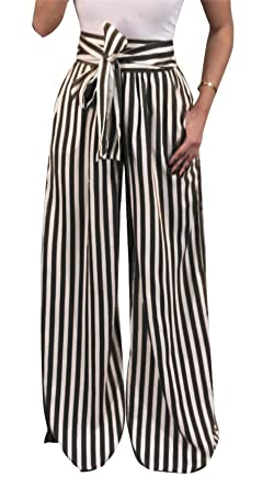 1a04dae6054ad Image Unavailable. Image not available for. Color  Molisry Women s Casual  Striped High Waisted Wide Leg Long Palazzo Pants ...