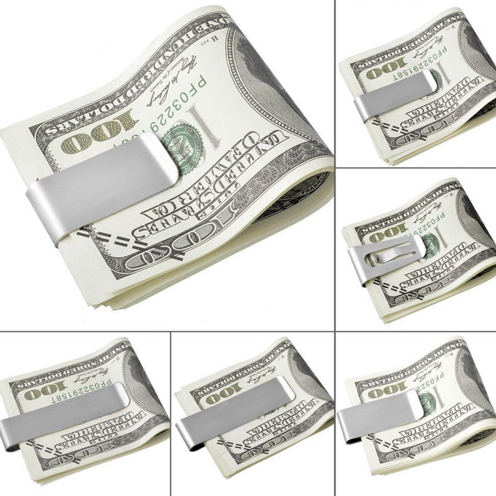 HOUSWEETY Stainless Steel Slim Money Clip Credit Card Holder 5x2.65cm