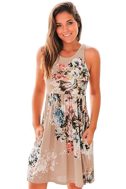 66c64e84e1d Women Casual Floral Print Sleeveless Round Neck Short Boho Dress High-waist  Ruched Maxi Dress