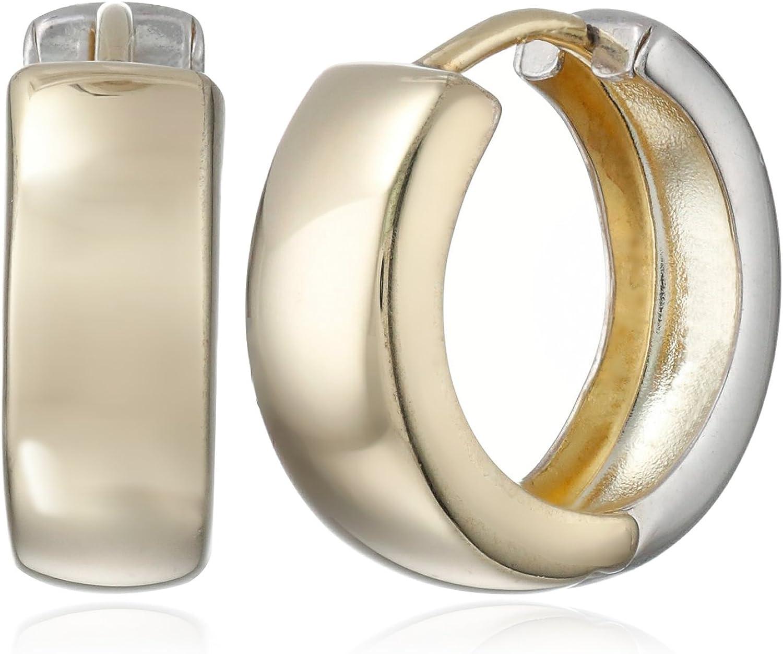 14k Gold-Bonded Sterling Silver Two-Tone Huggie Hoop Earrings