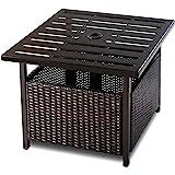Giantex Patio Rattan Wicker Umbrella Side Table Stand with Umbrella Hole Steel Outdoor Deck Garden Pool, Brown