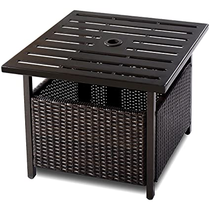 Amazon Com Giantex Patio Rattan Wicker Umbrella Side Table Stand