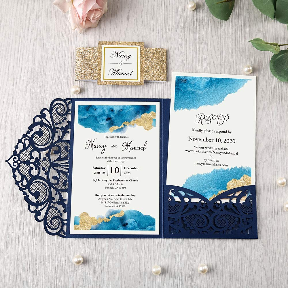 Amazon.com: DORIS HOME 4.7x7 Inch Navy Blue Laser Cut Wedding Invitations  With Envelopes Kit With Gold Glitter Belly Band Wedding Invitation Cards  For Wedding Invite (Navy Blue, 25PCS BLANK): Kitchen & Dining