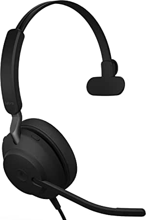 Jabra Evolve2 40 UC Wired Headphones, USB-C, Mono, Black – Telework Headset for Calls and Music, Enhanced All-Day Comfort, Passive Noise Cancelling Headphones, UC-Optimized with USB-C Connection