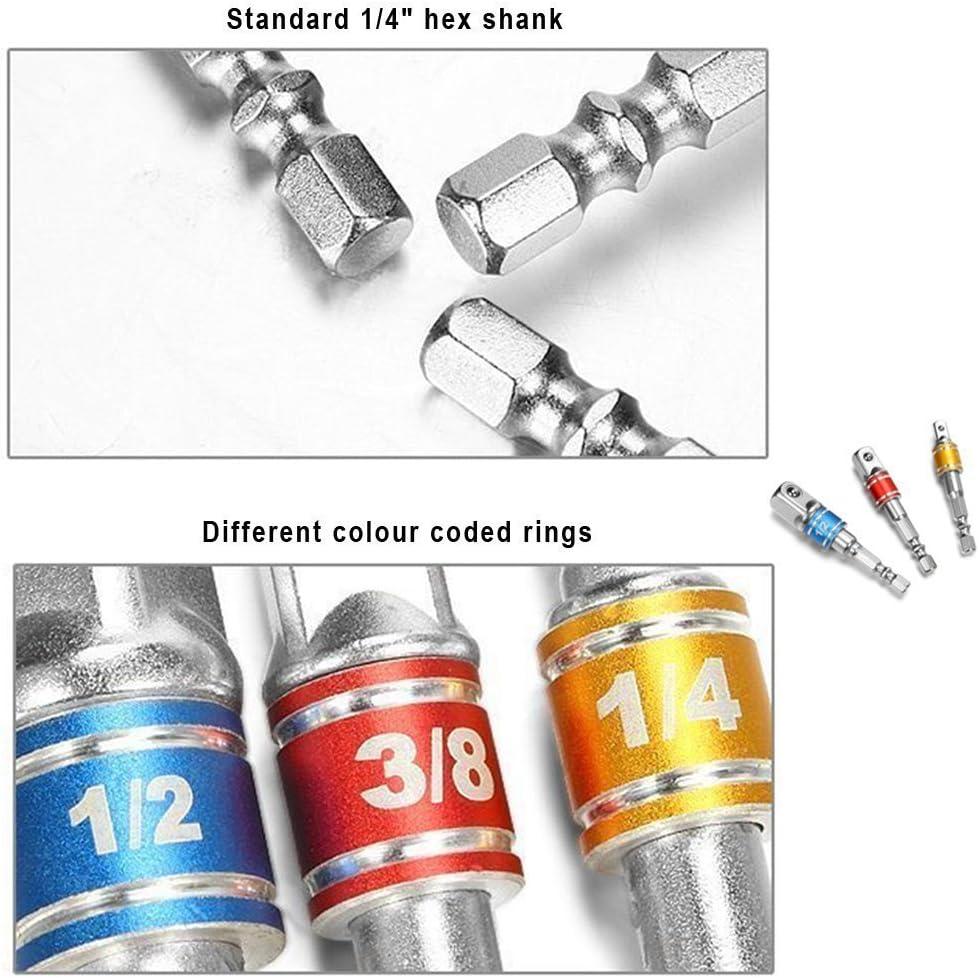 105 Degree New Right Angle Drill Bit Adapter Attachment 1//4 Drive 6mm Hex Magnetic Bit Socket Screwdriver Holder Adaptor Jonier 3Pcs 1//4 3//8 1//2 Cr-V Hex Shank Impact Grade Socket Adapter//Extension Set