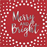 Creative Converting 16-Count Lunch Paper Napkins, Holiday Sparkle and Shine Red