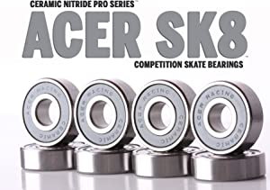 ACER Racing 608 Ceramic Skate Bearings 8 Piece 8x22x7mm Si3N4