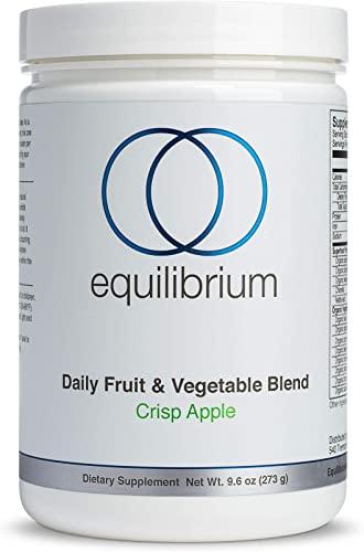 Daily Fruit and Vegetable Powder Green Juice Superfood Powder 22 Organic Fruits, Vegetables Wheatgrass Powder, Barley Grass, Spirulina Powder Crisp Apple Flavor 9.6 oz Equilibrium Nutrition