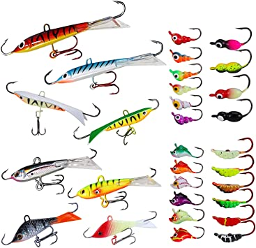 Lot Ice Fishing Jigs Lure Minnow Bait Jigging Lure Winter 6cm//8cm Fishing Tackle