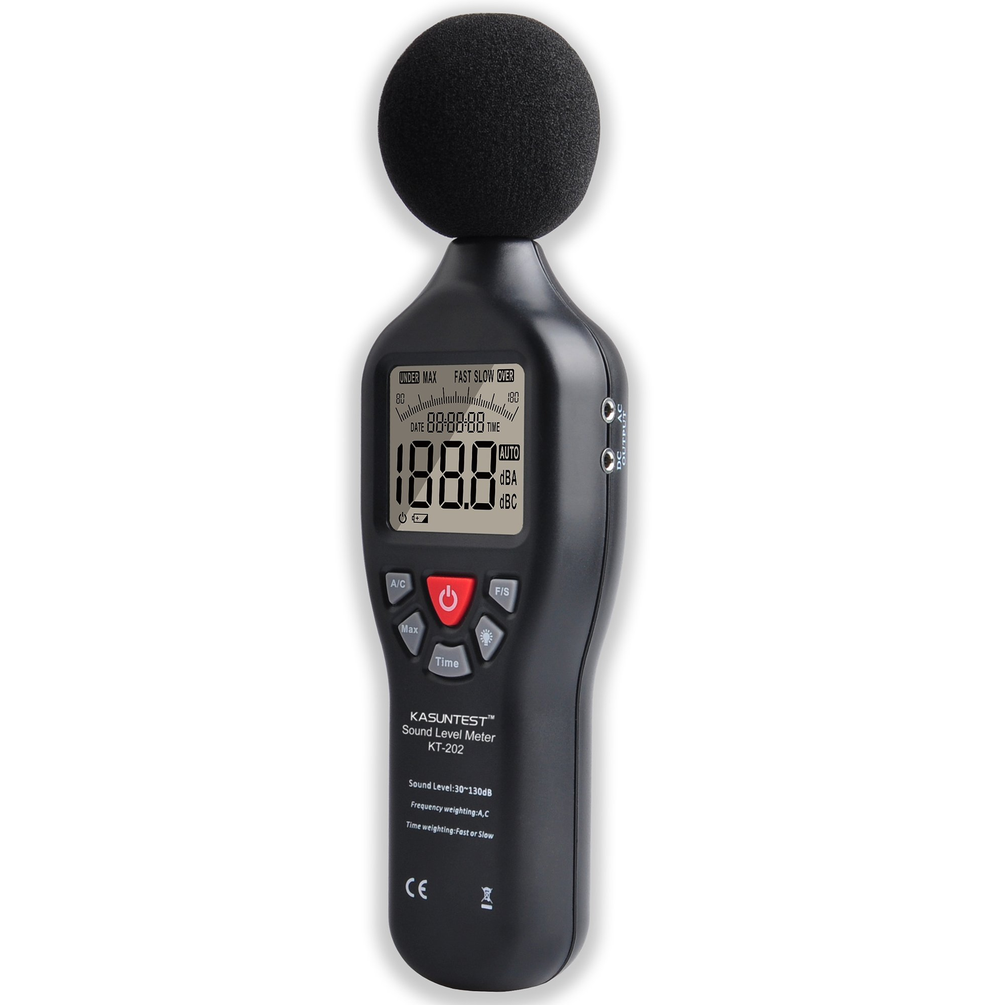 KASUNTEST Professional Sound Level Meter Digital Noise Tester Range:30 to 130dB with Large LCD Display and Backlit by K KASUNTEST