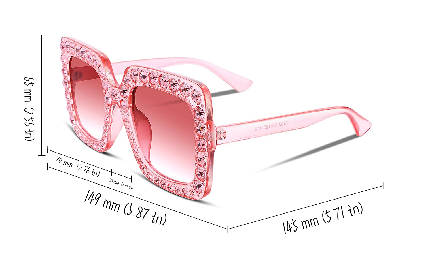 0564f6ad46a Amazon.com  FEISEDY Women Sparkling Crystal Sunglasses Oversized Square  Thick Frame B2283  Clothing