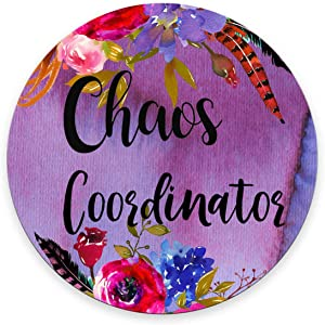Smooffly Funny Quote Chaos Coordinator Mouse Pad, Desk Accessories, Quote Mouse Pad, Office Decor, Watercolor Floral Round Mouse Pad, Office Supplies
