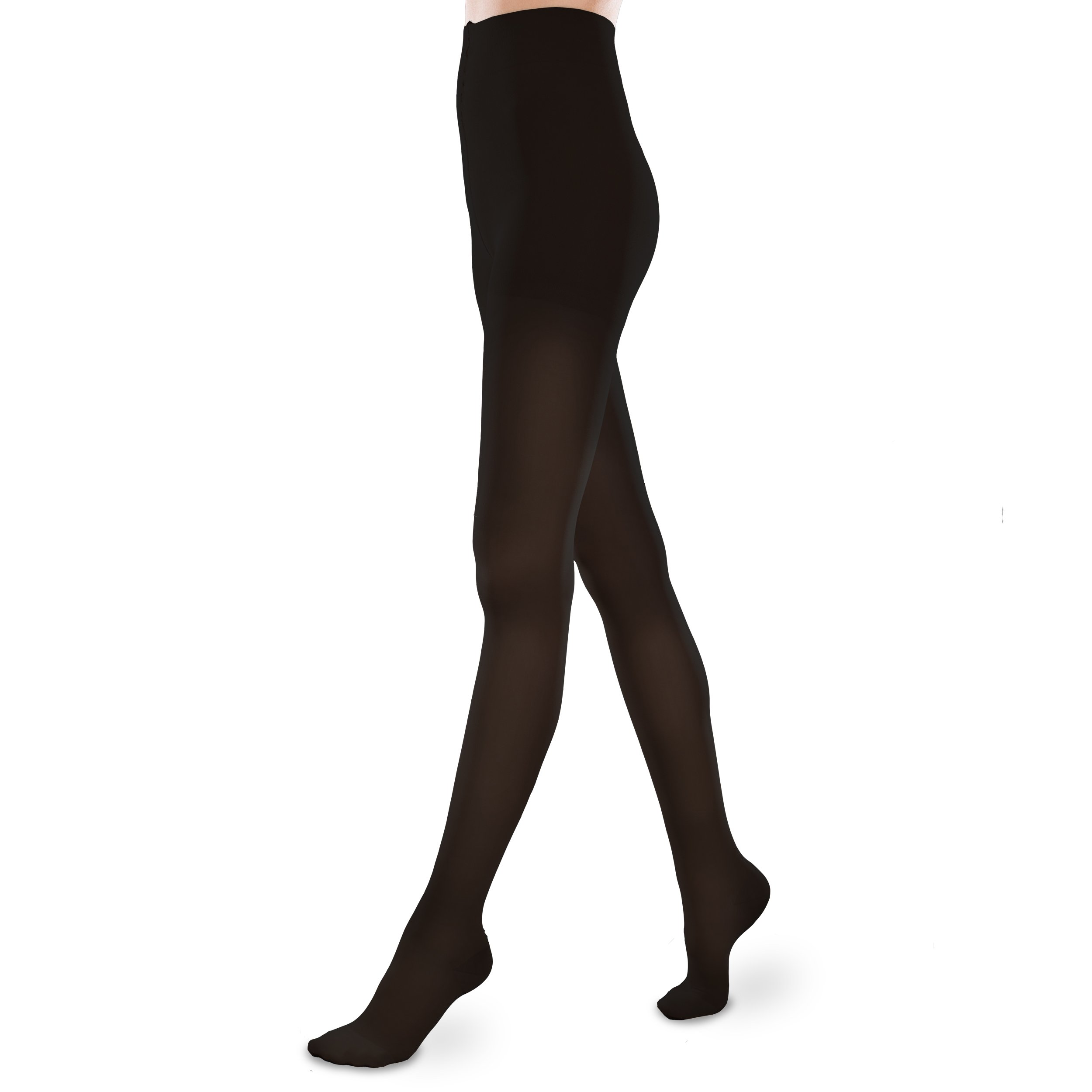 Sheer Ease Women's Support Pantyhose - 30-40mmHg Firm Compression Stockings (Black, Large Long)