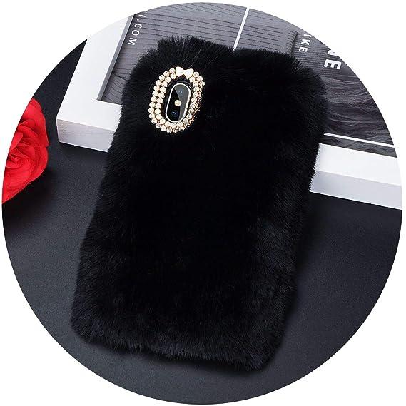 d798dee38 Amazon.com: Luxury Warm Rabbit Fur Plush Diamond Phone Case for ...
