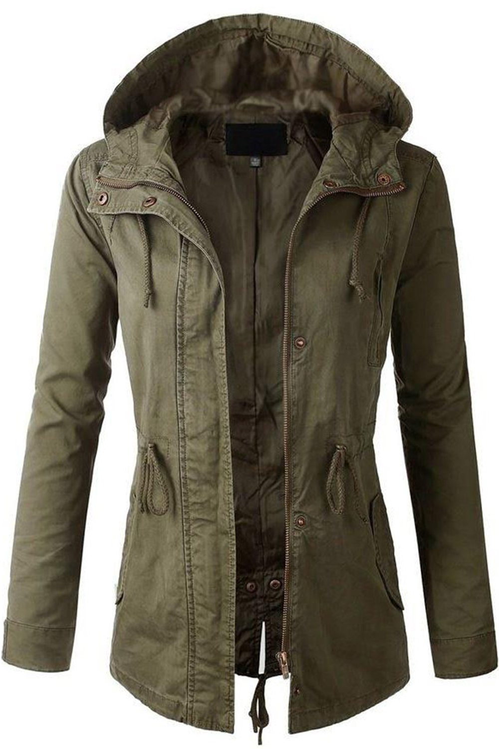 FASHION BOOMY Womens Zip Up Military Anorak Jacket W/Hood (Large, Olive)