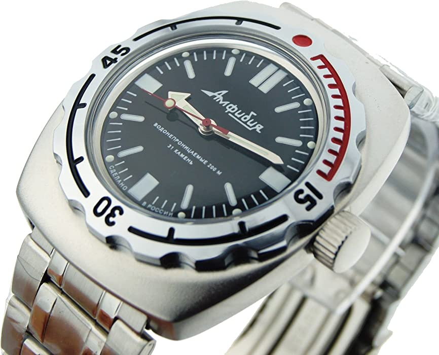 Vostok Amphibian 090916 Russian Watch for Scuba Diving Mechanical Self-winding Stainless Steel Black