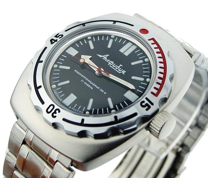 Vostok Amphibian 090916 Ruso Reloj para buceo mecánico de carga (Acero Inoxidable), color negro: Vostok: Amazon.es: Relojes