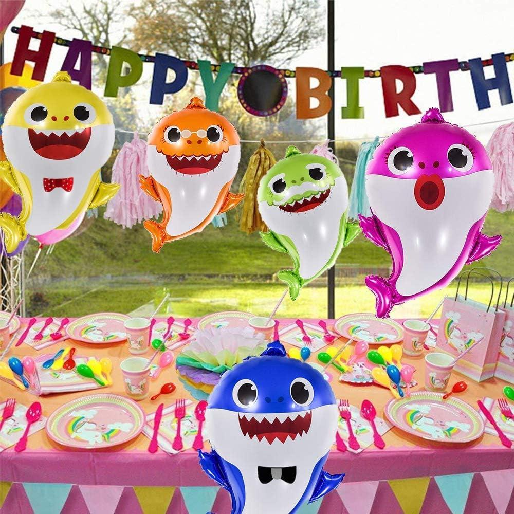 Baby Shark Balloons EQARD 25 Cute Shark Balloons for Party Decorations,5 Pcs Shark Family Balloons for Baby Shark Birthday Decorations,Helium Balloons for Baby Shark Party Supplies Ribbon Included