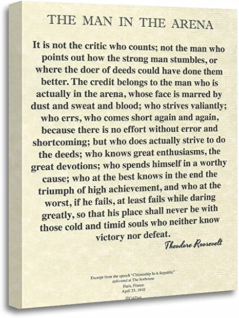 Motivational Signs The Man In The Arena Canvas Edition Inspirational Signs Canvas Wall Art Office Sign Teddy Roosevelt