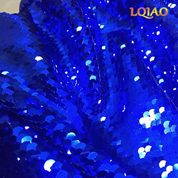 30da824fffc080 Amazon.com  LQIAO 125x90cm Mermaid Sequin Fabric-Royal Blue Silver ...
