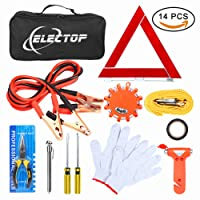 Electop Roadside Assistance Auto Emergency Kit Car Safety Kits 14 Pieces with Jumper Cables,LED Road Flare Warning Light,Tow Rope,Triangle,Tire Pressure Gauge and More for Your Car Truck SUV