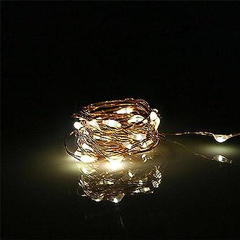 28f908e8feb BUYERTIME 2M 6.5Ft 20 LEDs Cadena de Luces Impermeable Flexible de Alambre  de Cobre