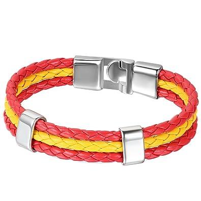 ceb6cafc0f9f Jewelrywe Joyería Pulseras Hombre Mujer Pulsera España Bandera Brazalete de  Cuero Rojo Amarillo VIVA ESPAÑA (