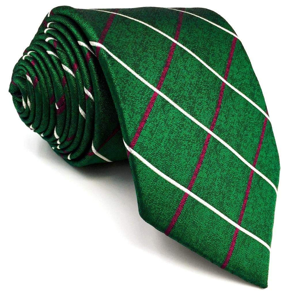 SHLAX&WING Checkered Neckties for Men Green Tie Set Wedding Party Unique Suit Jacket