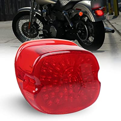 MOVOTOR Red Low Profile Harley Davidson Tail Light Integrated Brake Turn Signal Rear Light for Sportster 883 1200 Dyna FXD Road King: Automotive