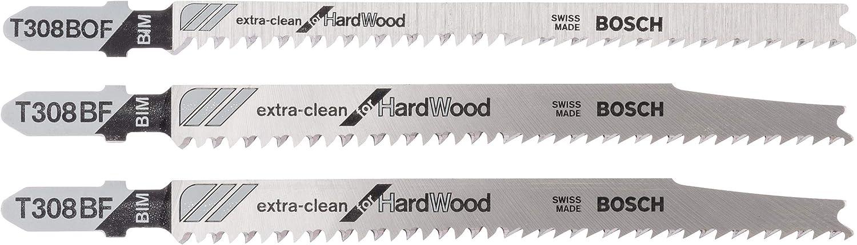 Bosch Professional - Set de 3 unidades de hojas de sierra de calar ExtraClean (Madera dura, accesorios para sierras de calar con vástago en T)