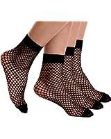 Begirlly Womens Ankle High Tights Highly Elastic Fishnet Socks 3 Pack