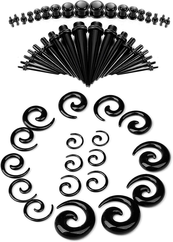 Finrezio 54-66 Piezas 14g-00g Kit De Estiramiento De Orejas Tapers y Tapones Acrílicos Túneles Tapers En Espiral