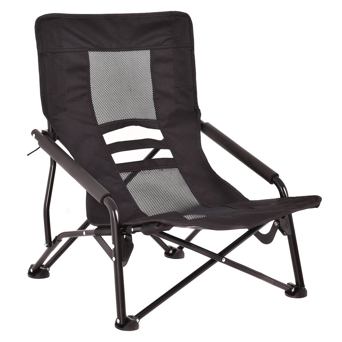 Giantex Outdoor High Back Folding Beach Chair Lightweight Camping Furniture Portable Mesh Seat (Black)
